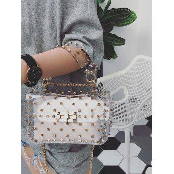 2 Pieces Rivet Lucid Jelly Crossbody Bag Set - WHITE HORIZONTAL