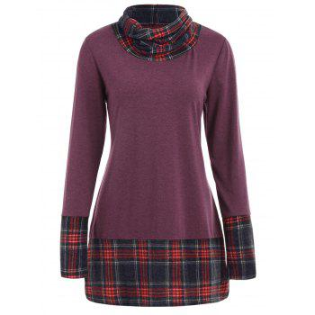 Long Sleeve Plaid Insert Sweatshirt - PURPLE S