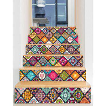 Mandala Plaid Print Stair Stickers - multicolor