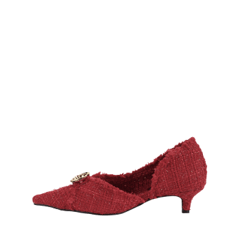 Pointed Toe Kitten Heel Metal Button Pumps - CHESTNUT RED 39