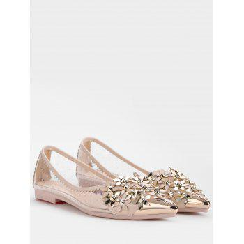 Flower Rhinestone Rivets Pointed Toe Flats - APRICOT 37