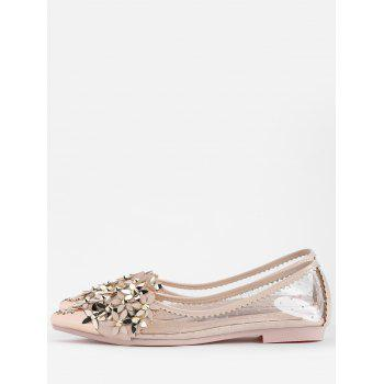 Flower Rhinestone Rivets Pointed Toe Flats - APRICOT 36