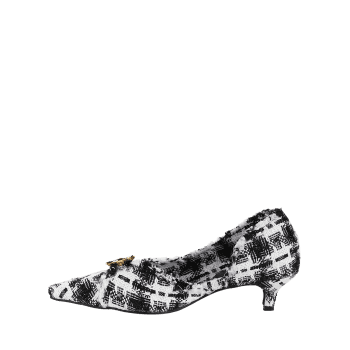 Pointed Toe Kitten Heel Metal Button Pumps - WHITE 39