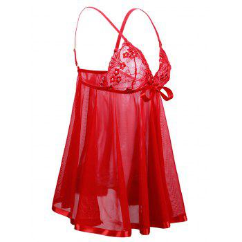 Embroidery Plus Size Bowknot Embellished Babydoll - LOVE RED 3X