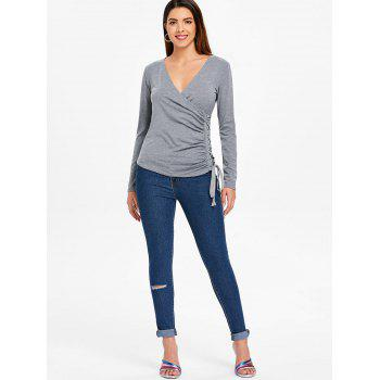 Grommet Lace Up Long Sleeve Top - GRAY XL