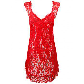 Sheer Plus Size Bowknot Lace Babydoll - LOVE RED 4X
