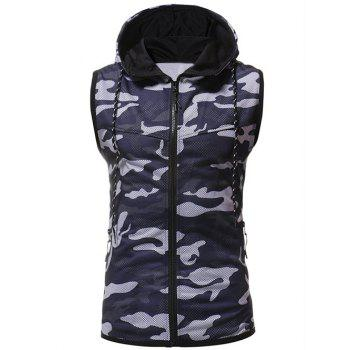Camouflage Printed Hoodie Waistcoat - CADETBLUE 3XL