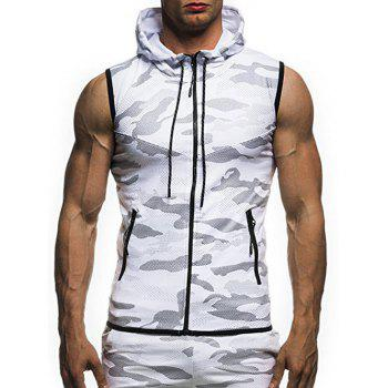 Camouflage Printed Hoodie Waistcoat - WHITE 3XL