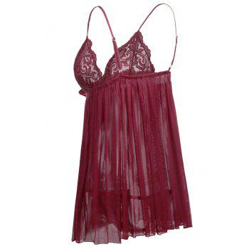 Sheer Plus Size Plus Size Babydoll - RED WINE 2X