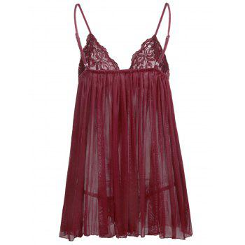 Nuisette Transparente Grande-Taille - Rouge Vineux 3X
