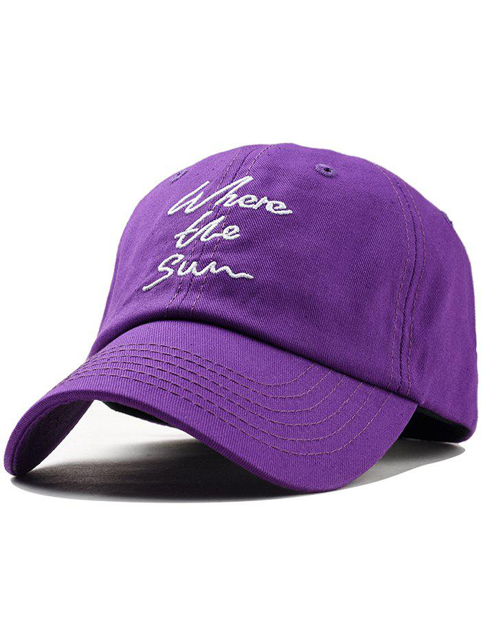 Statement Printed Letters Embroidery Sunscreen Hat - PURPLE