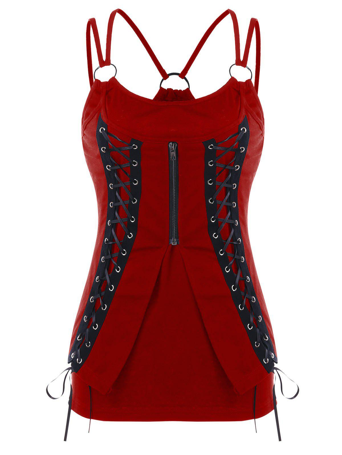 Lace Up Corset Tank Top - RED WINE M
