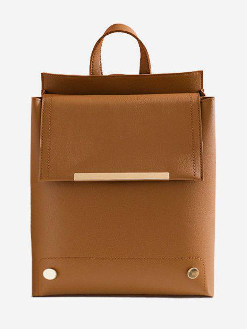 Flap All Purpose Chic School Backpack - BROWN VERTICAL