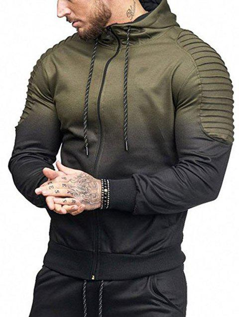 Ombre Shoulder Pleated Sports Zip Hoodie - ARMY GREEN L
