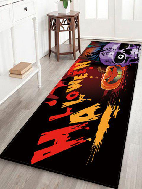 Halloween Skull Print Absorption Floor Mat - BLACK W16 INCH * L47 INCH