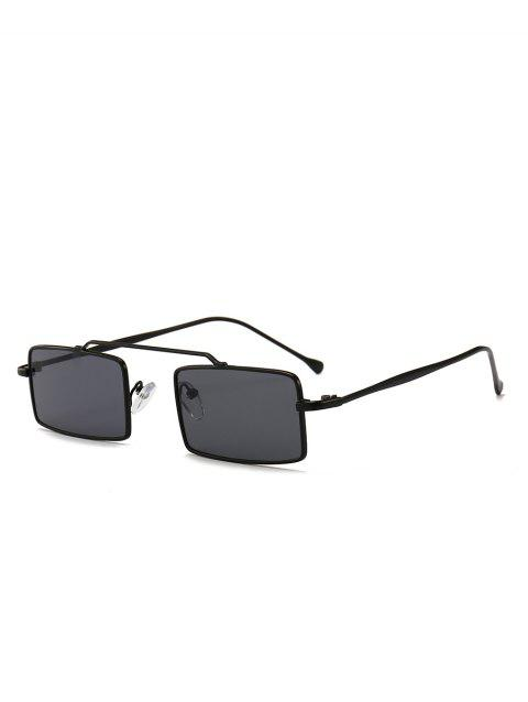 Novelty Rectangle Frame Crossbar Sunglasses - BLACK