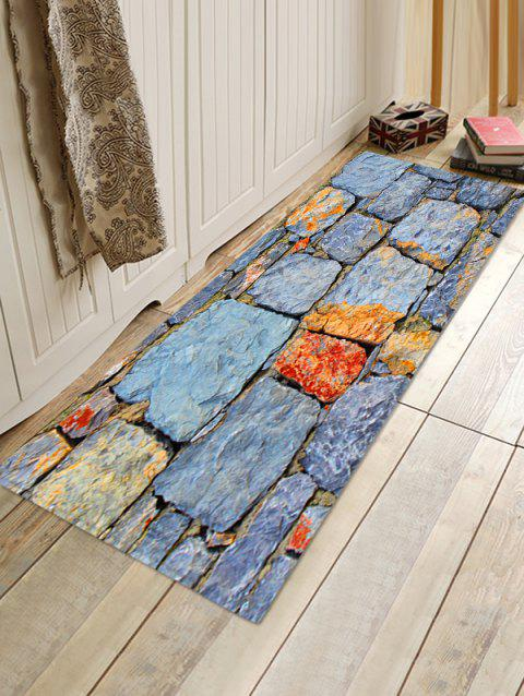 Stone Wall Pattern Anti-skid Floor Mat - BLUE GRAY W16 INCH * L47 INCH