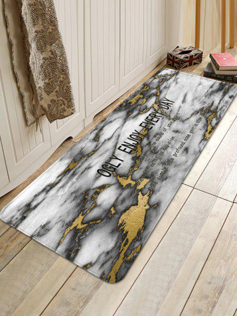 Opalized Marble Letter Print Anti-skid Floor Mat - WHITE W16 INCH * L47 INCH