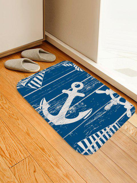 Anchor Pattern Soft Anti-skid Area Rug - STEEL BLUE W16 INCH * L24 INCH