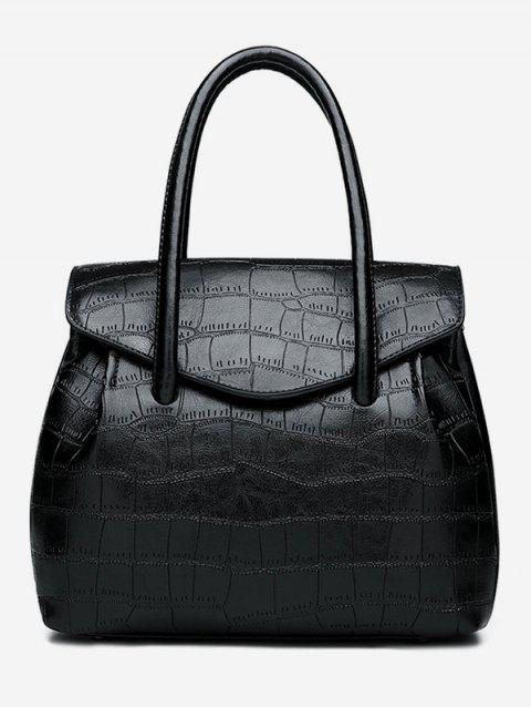 Flapped Embossing Casual PU Leather Handbag - BLACK