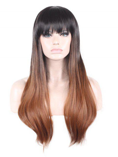 Neat Bang Long Straight Colormix Synthetic Wig - BROWN