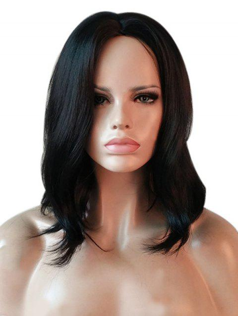 Center Parting Medium Natural Straight Capless Synthetic Wig - BLACK