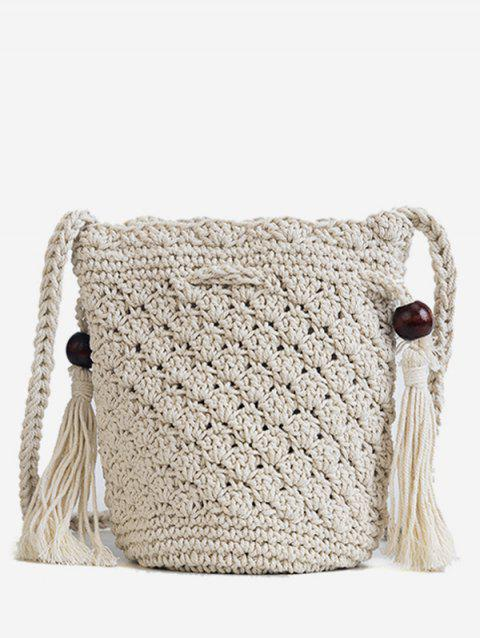 Minimalist Tassels Decoration Knitted Hangbag - WHITE
