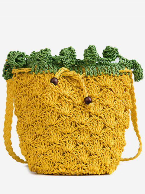 Leisure Crochet Pineapple Shoulder Bag - SCHOOL BUS YELLOW