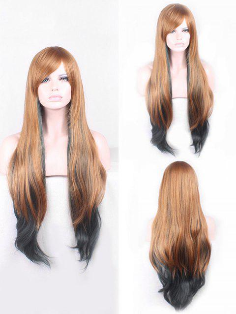 Long Inclined Bang Colormix  Straight Cosplay Synthetic Wig - GOLD