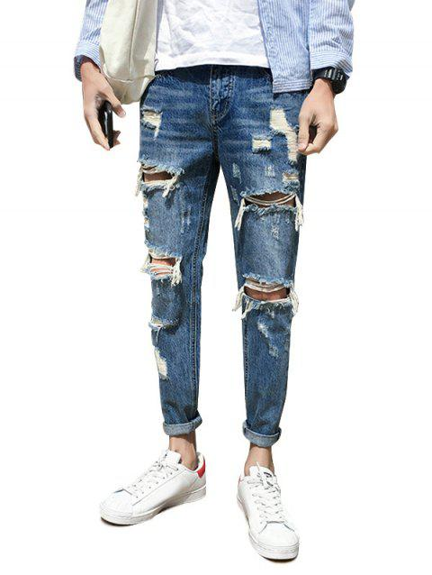 Distressed Zip Fly Nine Minutes of Jeans - BLUE 36
