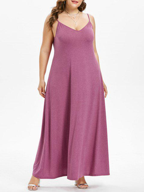 Plus Size Maxi A Line Dress - PALE VIOLET RED 1X