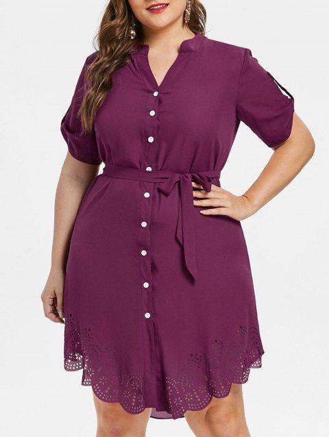 Plus Size Asymmetrical Shirt Dress - PURPLE JAM L