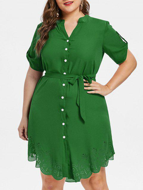 Plus Size Asymmetrical Shirt Dress - DEEP GREEN 1X
