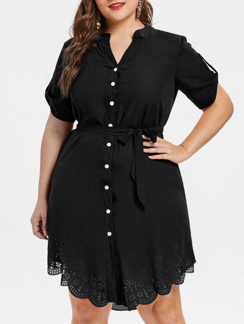 Plus Size Asymmetrical Shirt Dress - JET BLACK 5X
