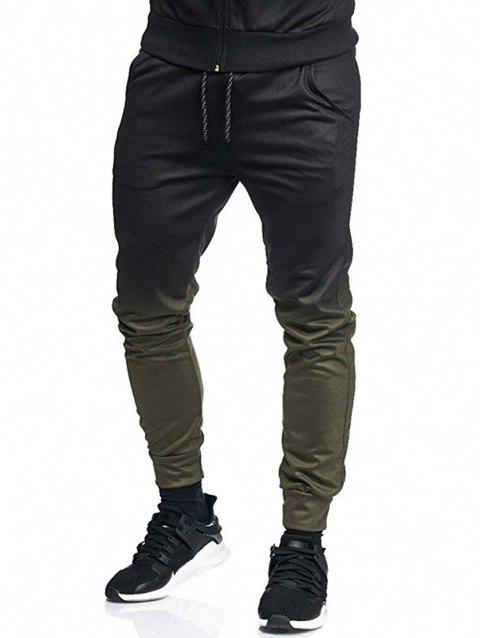 Ombre Side Pocket Casual Jogger Pants - ARMY GREEN L