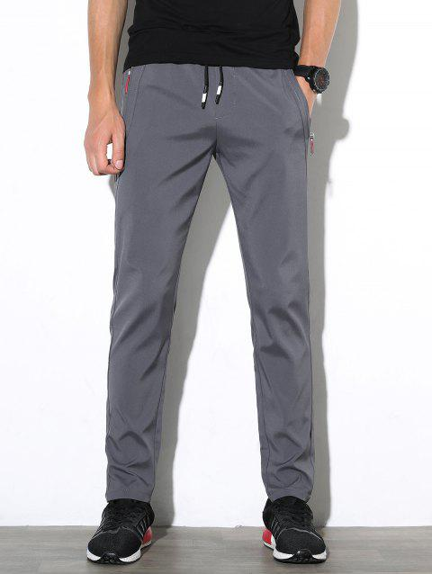 Casual Straight Leg Solid Color Pants - ASH GRAY 38