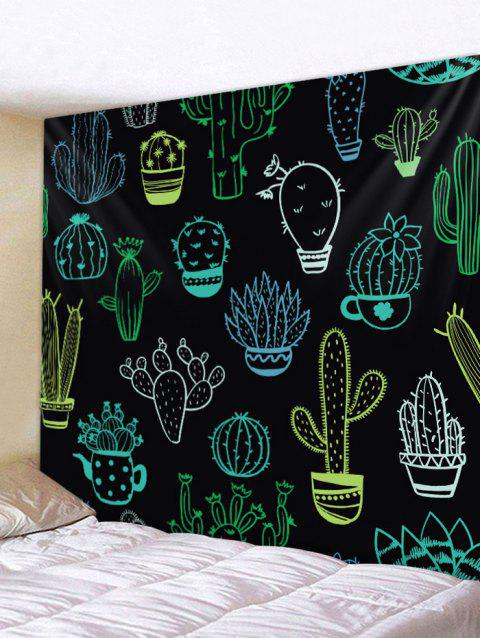 7bcf4cce9e Cactus Printed Tapestry Wall Art Decoration - BLACK W79 INCH   L71 INCH