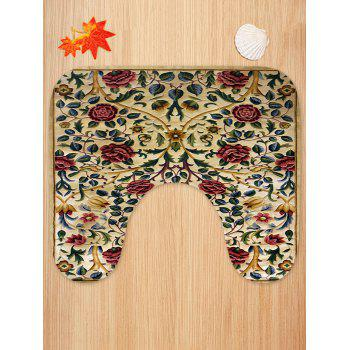 Vintage Flowers Pattern 3 Pcs Flannel Bath Mat Toilet Mat - multicolor