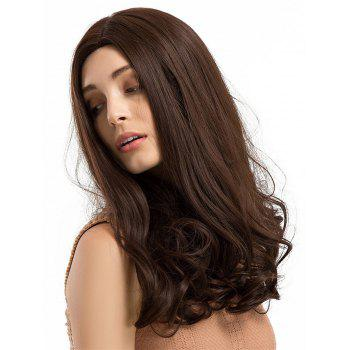 Middle Part Long Curly Synthetic Wig - COFFEE