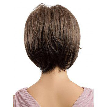 Short Inclined Bang Straight Capless Heat Resistant Synthetic Wig - multicolor