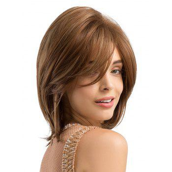 Inclined Bang Short Straight Capless Heat Resistant Synthetic Wig - BROWN