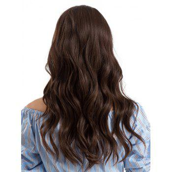 Center Parting Long Length Wavy Synthetic Wig - BROWN