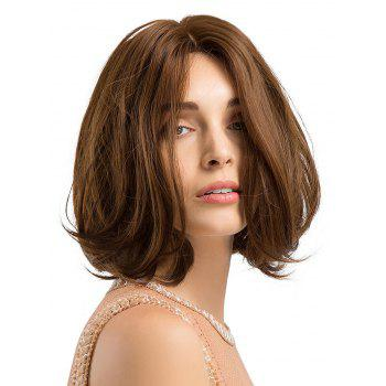 Short Oblique Bang Straight Bob Capless Synthetic Wig - BROWN