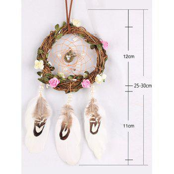 Handmade Feathers Flowers Dream Catcher - multicolor 30*12CM