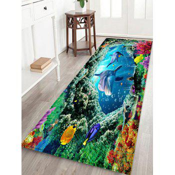 Sea World Dolphins Pattern Absorption Floor Mat - BLUE W16 INCH * L47 INCH