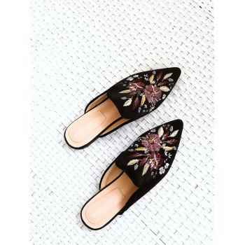Flat Heel Pointed Toe Floral Embroidery Mules Shoes - BLACK 39