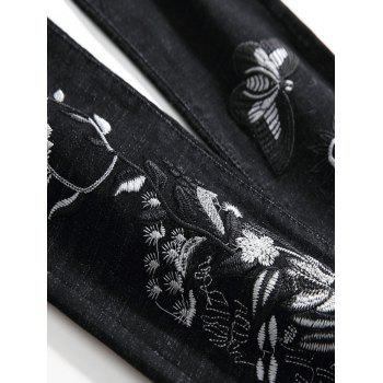 Zip Fly Embroidery Flower Butterfly Jeans - BLACK 32