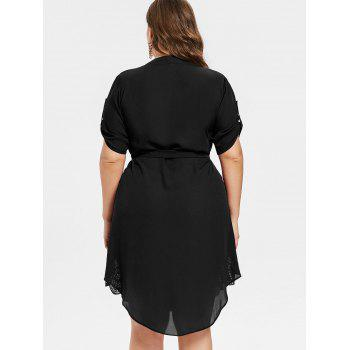 Plus Size Asymmetrical Shirt Dress - JET BLACK 1X