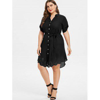 Plus Size Asymmetrical Shirt Dress - JET BLACK 3X