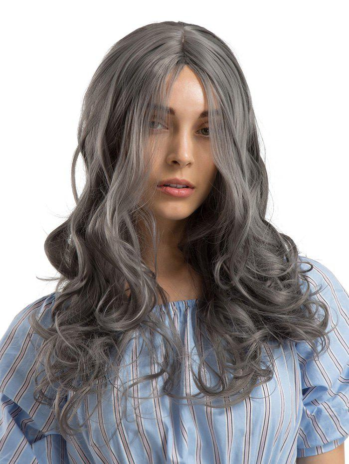 Long Length Center Parting Wavy Party Synthetic Wig - GRAY